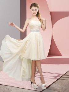 Champagne A-line Beading Homecoming Dress Lace Up Chiffon Sleeveless High Low