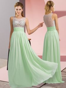 Apple Green Scoop Side Zipper Beading Evening Dress Sleeveless