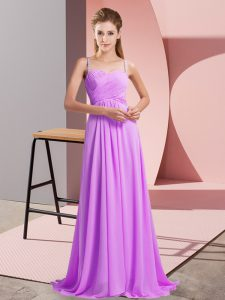 Lilac Spaghetti Straps Backless Ruching Dress for Prom Sweep Train Sleeveless