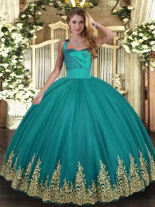 Sleeveless Tulle Floor Length Lace Up Sweet 16 Dresses in Turquoise with Appliques
