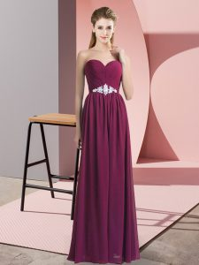 Beading Burgundy Backless Sleeveless Floor Length