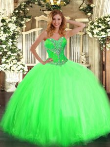 Sweetheart Neckline Beading Quinceanera Gown Sleeveless Lace Up