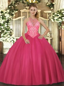 Extravagant High-neck Sleeveless Tulle Quinceanera Dress Beading Lace Up