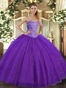 Shining Purple Sleeveless Floor Length Beading Lace Up Sweet 16 Quinceanera Dress