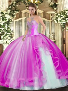Sumptuous Fuchsia Tulle Lace Up Sweetheart Sleeveless Floor Length 15 Quinceanera Dress Beading and Ruffles