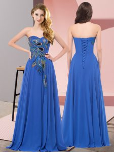 Blue Lace Up Homecoming Dress Embroidery Sleeveless Floor Length