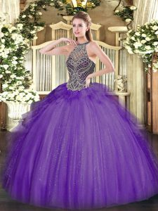 Elegant Halter Top Sleeveless Lace Up 15 Quinceanera Dress Lavender Tulle