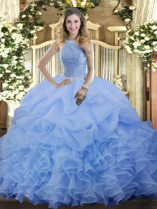 Floor Length Lace Up Sweet 16 Dress Blue for Military Ball and Sweet 16 and Quinceanera with Beading and Ruffles and Pick Ups