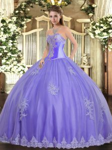 Lavender Sleeveless Beading and Appliques Floor Length 15th Birthday Dress