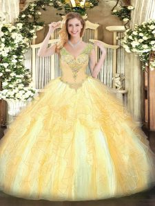 Pretty Gold Sleeveless Organza Lace Up Sweet 16 Quinceanera Dress for Military Ball and Sweet 16 and Quinceanera