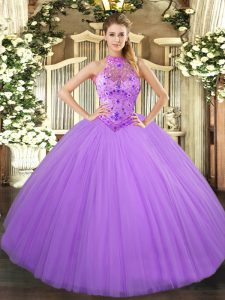 Hot Sale Lavender Halter Top Lace Up Beading and Embroidery Ball Gown Prom Dress Sleeveless