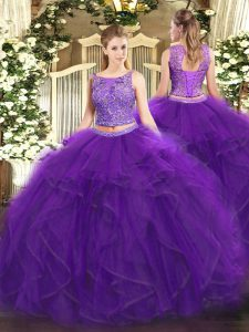 Pretty Floor Length Two Pieces Sleeveless Purple Sweet 16 Quinceanera Dress Lace Up
