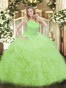 Pretty Organza Zipper Scoop Sleeveless Floor Length Quince Ball Gowns Beading and Ruffles