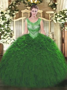 Decent Green Organza Lace Up Quinceanera Dresses Sleeveless Floor Length Beading and Ruffles