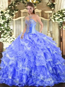 Sleeveless Organza Floor Length Lace Up Quince Ball Gowns in Blue with Beading and Ruffled Layers
