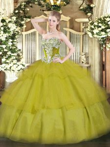 Olive Green Lace Up Strapless Beading and Ruffled Layers Quinceanera Gowns Tulle Sleeveless
