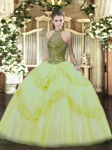 Spectacular Light Yellow Lace Up 15th Birthday Dress Beading and Appliques Sleeveless Floor Length