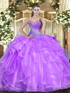 Sweet Sleeveless Organza Floor Length Lace Up Quinceanera Gown in Lilac with Beading and Ruffles