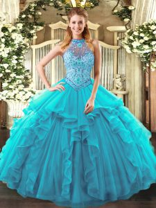 Suitable Sleeveless Beading and Ruffles Lace Up Quinceanera Gowns