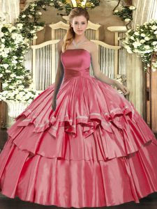 Hot Sale Ruffled Layers 15 Quinceanera Dress Coral Red Lace Up Sleeveless Floor Length