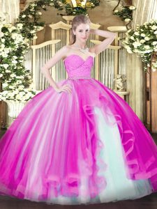 Beautiful Fuchsia Zipper Vestidos de Quinceanera Beading and Lace and Ruffles Sleeveless Floor Length