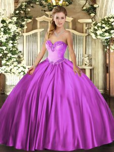 Sleeveless Satin Floor Length Lace Up 15th Birthday Dress in Fuchsia with Beading