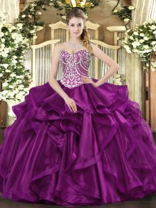 Eye-catching Fuchsia Organza Lace Up Sweetheart Sleeveless Floor Length Quinceanera Gowns Beading and Ruffles