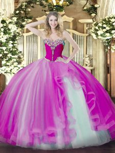 Ideal Floor Length Fuchsia Sweet 16 Dresses Sweetheart Sleeveless Lace Up