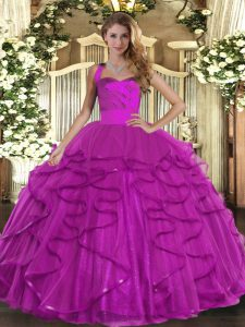 Fuchsia Sleeveless Ruffles Floor Length Sweet 16 Quinceanera Dress