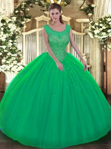 Latest Scoop Sleeveless Quinceanera Gown Floor Length Beading Green Tulle