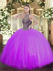 Modern Floor Length Lilac Sweet 16 Quinceanera Dress Tulle Sleeveless Beading