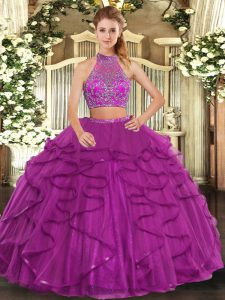 Luxury Fuchsia Two Pieces Beading and Ruffled Layers Sweet 16 Dresses Criss Cross Tulle Sleeveless Floor Length