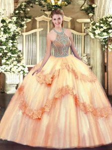 Comfortable Floor Length Peach Quinceanera Gowns Halter Top Sleeveless Lace Up