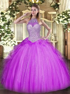 Elegant Lilac Sleeveless Beading and Ruffles Floor Length Ball Gown Prom Dress