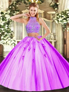Captivating Tulle Halter Top Sleeveless Criss Cross Beading 15th Birthday Dress in Lilac