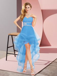 High Low Baby Blue Prom Party Dress Sweetheart Sleeveless Lace Up