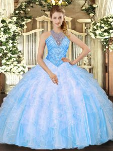 Inexpensive Baby Blue Sleeveless Organza Lace Up Ball Gown Prom Dress for Military Ball and Sweet 16 and Quinceanera