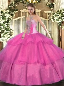 Graceful Sweetheart Sleeveless Sweet 16 Dresses Floor Length Beading and Ruffled Layers Hot Pink Tulle