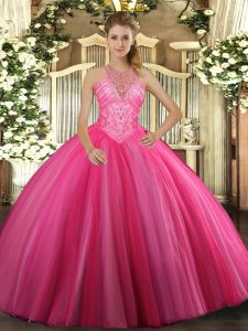 Fashion High-neck Sleeveless 15 Quinceanera Dress Floor Length Beading Hot Pink Tulle