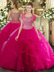 Fancy Ball Gowns Quinceanera Dress Hot Pink Scoop Tulle Sleeveless Floor Length Clasp Handle