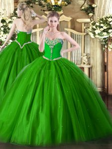 Glittering Beading Sweet 16 Quinceanera Dress Green Lace Up Sleeveless Floor Length