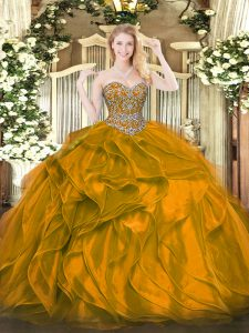 Exquisite Orange Sleeveless Organza Lace Up Sweet 16 Dresses for Military Ball and Sweet 16 and Quinceanera