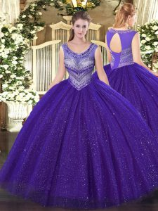New Style Floor Length Lace Up Quinceanera Gown Purple for Sweet 16 and Quinceanera with Beading