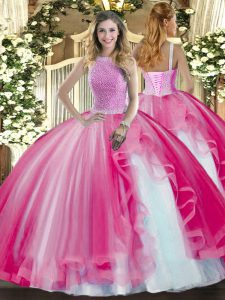 Floor Length Hot Pink Ball Gown Prom Dress Tulle Sleeveless Beading and Ruffles