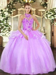 Adorable Ball Gowns Quinceanera Dress Lilac Halter Top Organza Sleeveless Floor Length Lace Up