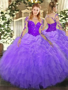 Excellent Lavender Lace Up Quince Ball Gowns Lace and Ruffles Long Sleeves Floor Length