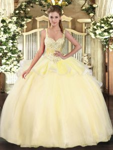 Luxury Straps Sleeveless Sweet 16 Dresses Floor Length Beading Gold Organza