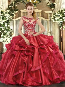 Excellent Cap Sleeves Floor Length Appliques and Ruffles Lace Up 15 Quinceanera Dress with Red