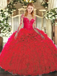Classical Red 15th Birthday Dress Military Ball and Sweet 16 and Quinceanera with Lace and Ruffles Scoop Sleeveless Lace Up