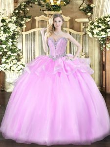 Fantastic Sweetheart Sleeveless Organza Quinceanera Gown Beading Lace Up